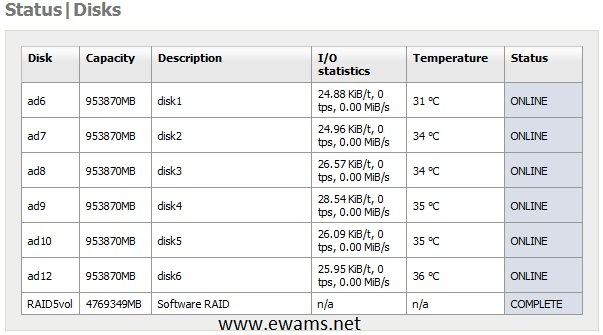 Disk status summary showing size and temperature.